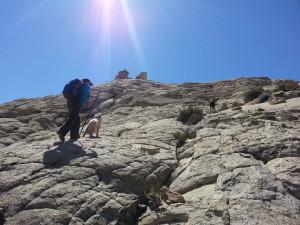 Sudsie and I climb up the slickrock